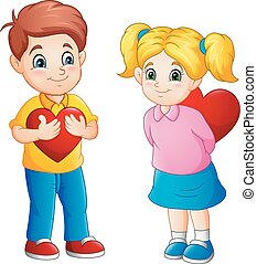 Cute couple cartoon with red hearts
