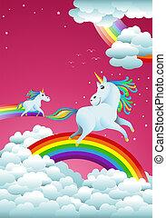 couple unicorns on rainbow fantasy