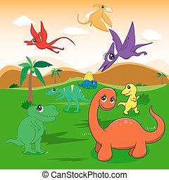 illustration of cute dinosaurs cartoon EPS10 File simple Gradients