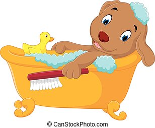 cute dog bathing time