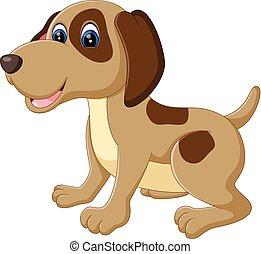 dog - illustration of cute dog cartoon