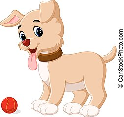 cute dog - illustration of cute dog cartoon with red ball