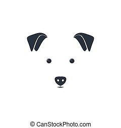Illustration of cute dog head on white background.