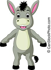 Cute donkey cartoon waving hand