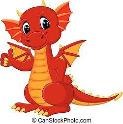 cute dragon cartoon - illustration of cute dragon cartoon