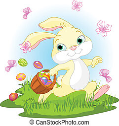 Easter Bunny Hiding Eggs - Illustration of cute Easter Bunny...