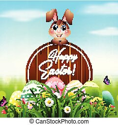 Cute Easter bunny with a wooden sign and colorful eggs in the garden