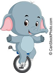 cute Elephant riding a unicycle - illustration of cute...