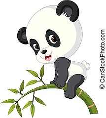 Cute funny baby panda hanging on the bamboo
