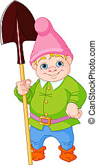 Garden Gnome with shovel - Illustration of cute Garden Gnome...