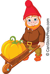 Illustration of cute Garden Gnome with wheelbarrow