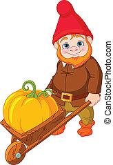 Garden Gnome with wheelbarrow - Illustration of cute Garden ...
