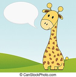 Illustration of cute giraffe with speech bubble