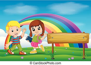 cute girl and boy in the park on rainbow day