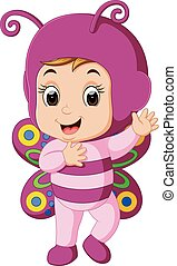 Cute girl cartoon wearing butterfly costume