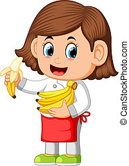 cute girl dressed like a chef holding bananas