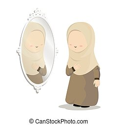 Cartoon characters of girls wearing headscarves standing in front of mirrors, religious women dressing up, vector illustrations.