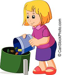 Cute girl with a trash bag near the garbage container