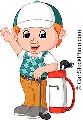cute golfer cartoon