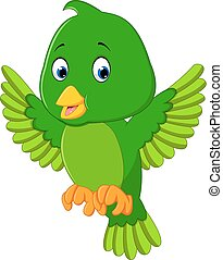 Cute green bird cartoon