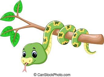 Cute green snake cartoon