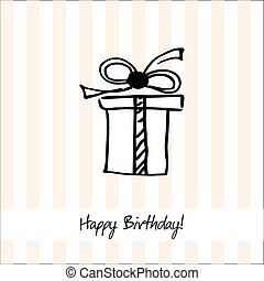 Cute happy birthday card with present box