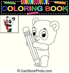 cute happy panda coloring book