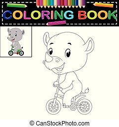 cute happy rhino coloring book