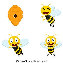 Cute Honey Bee cartoon collection set