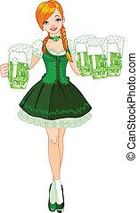 Irish girl - Illustration of cute Irish girl serving beer