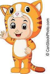 Cute kids cartoon wearing cat costume