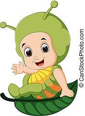 Cute kids cartoon wearing caterpillar costume