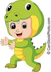 Cute kids cartoon wearing crocodile costume