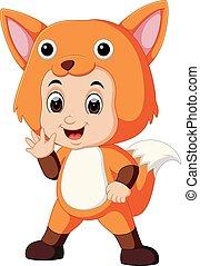Cute kids cartoon wearing fox costume