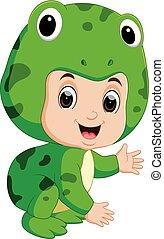 Cute kids cartoon wearing frog costume