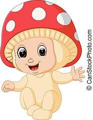 Cute kids cartoon wearing mushroom costume
