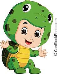 Cute kids cartoon wearing turtle costume