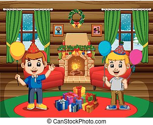 cute kids in the living room during christmas - illustration...