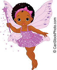 Illustration of Cute little baby fairy in fly