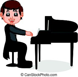 Cute little boy cartoon playing piano