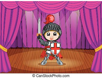 cute little boy wearing  knight costume on stage