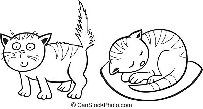 Cute little Cats for coloring book - illustration of Cute...