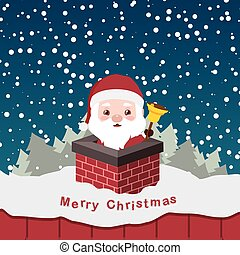 Illustration of cute little Santa in a chimney