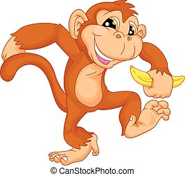 cute monkey cartoon  - illustration of cute monkey cartoon