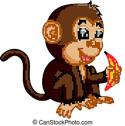 Cute monkey cartoon eating banana