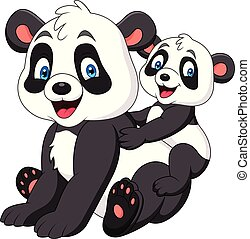 Cute mother and baby panda - Illustration of Cute mother and...