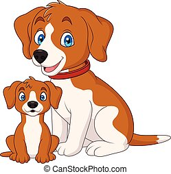 Cute mother dog with her puppy - Illustration of Cute mother...