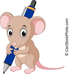 Cute mouse cartoon holding pen