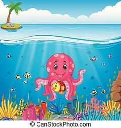 cute octopus under the sea