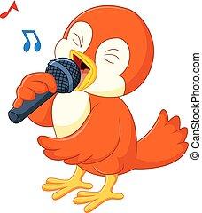 Cute orange bird singing